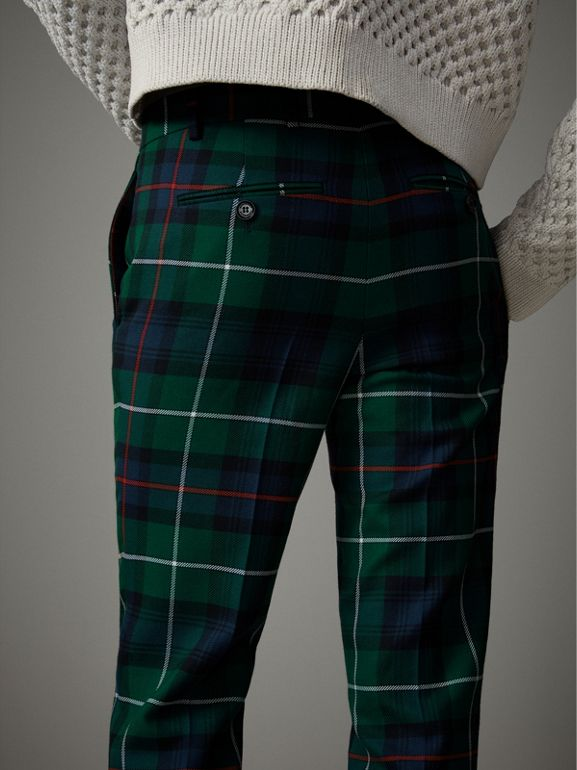 Tartan Wool Cropped Tailored Trousers in Forest Green - Men | Burberry - cell image 1