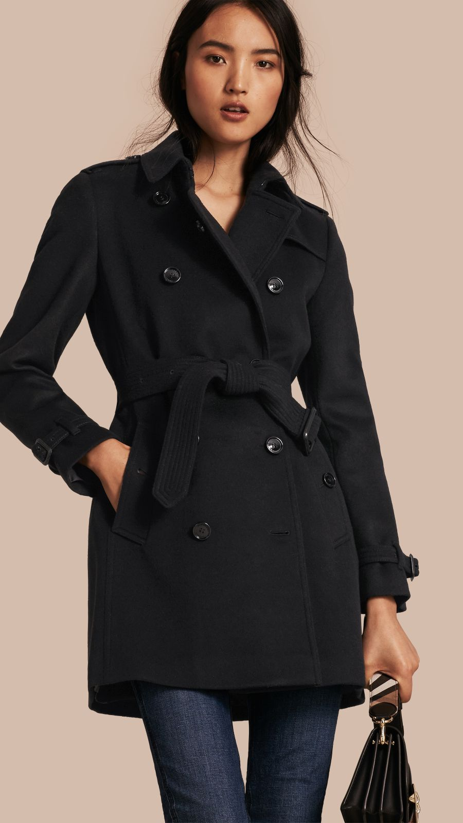 Black Virgin Wool Cashmere Trench Coat - Image 1