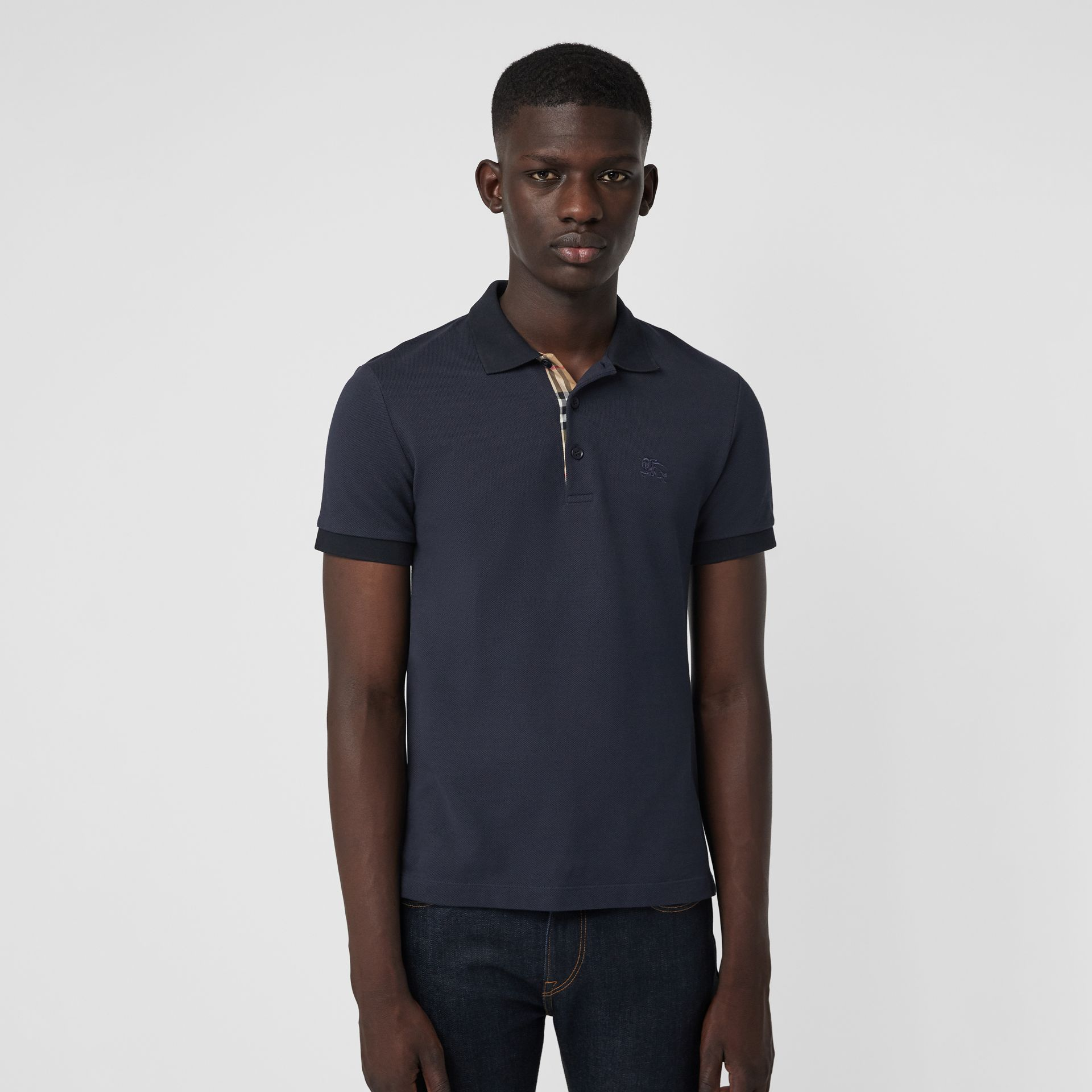 Check Placket Cotton Polo Shirt in Navy - Men | Burberry Singapore - gallery image 4