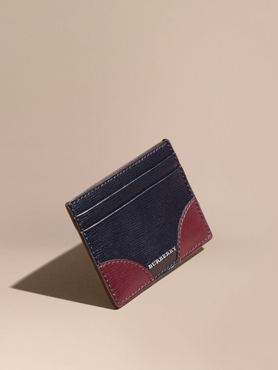 Porta carte di credito in pelle London con angoli a contrasto (Navy Scuro)