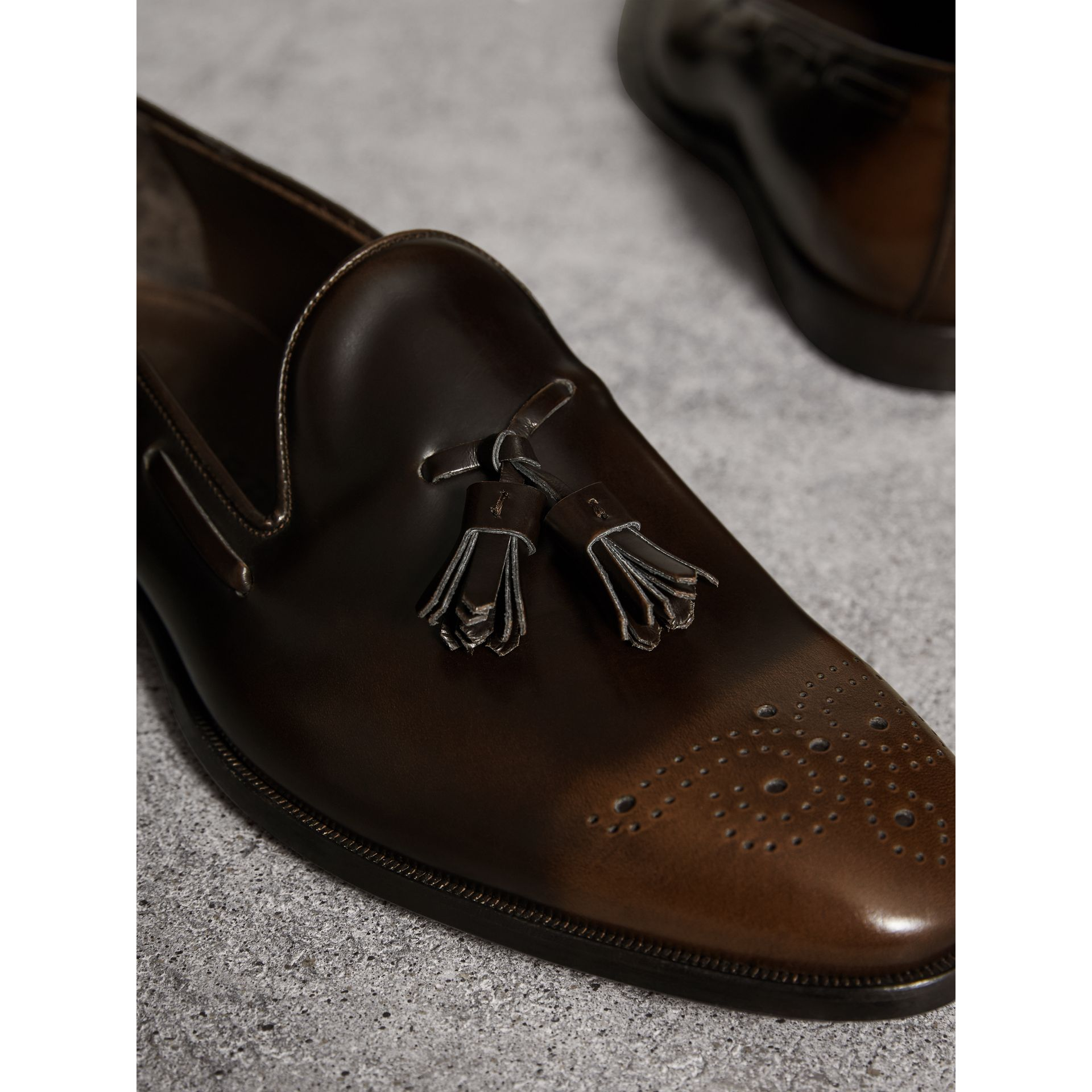Tasselled Patent Leather Loafers in Chocolate Brown - Men | Burberry Canada - gallery image 2