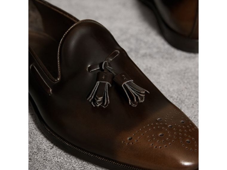 Tasselled Patent Leather Loafers in Chocolate Brown - Men | Burberry - cell image 1