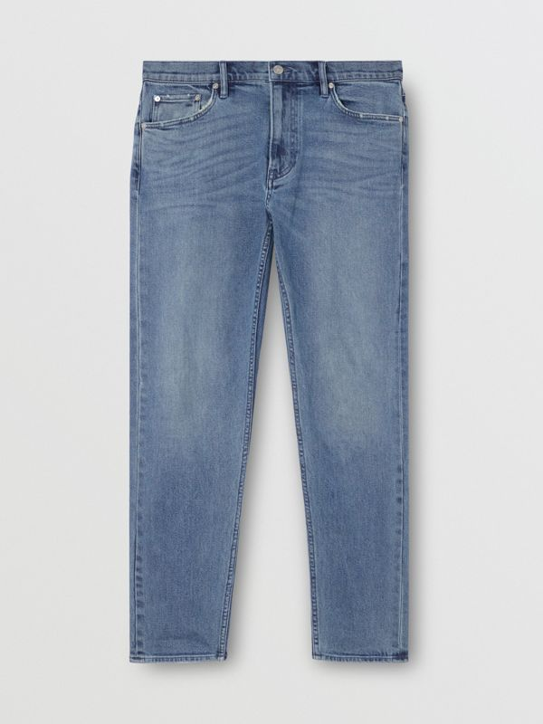 Slim Fit Washed Jeans in Light Indigo Blue - Men | Burberry - cell image 3