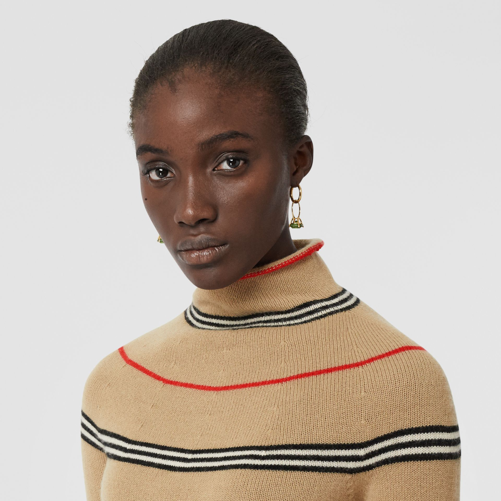 Icon Stripe Cashmere Turtleneck Sweater in Archive Beige - Women | Burberry - gallery image 1