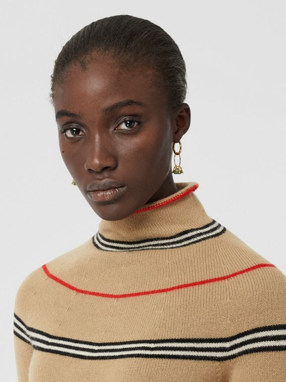 Icon Stripe Cashmere Turtleneck Sweater in Archive Beige - Women | Burberry - cell image 1