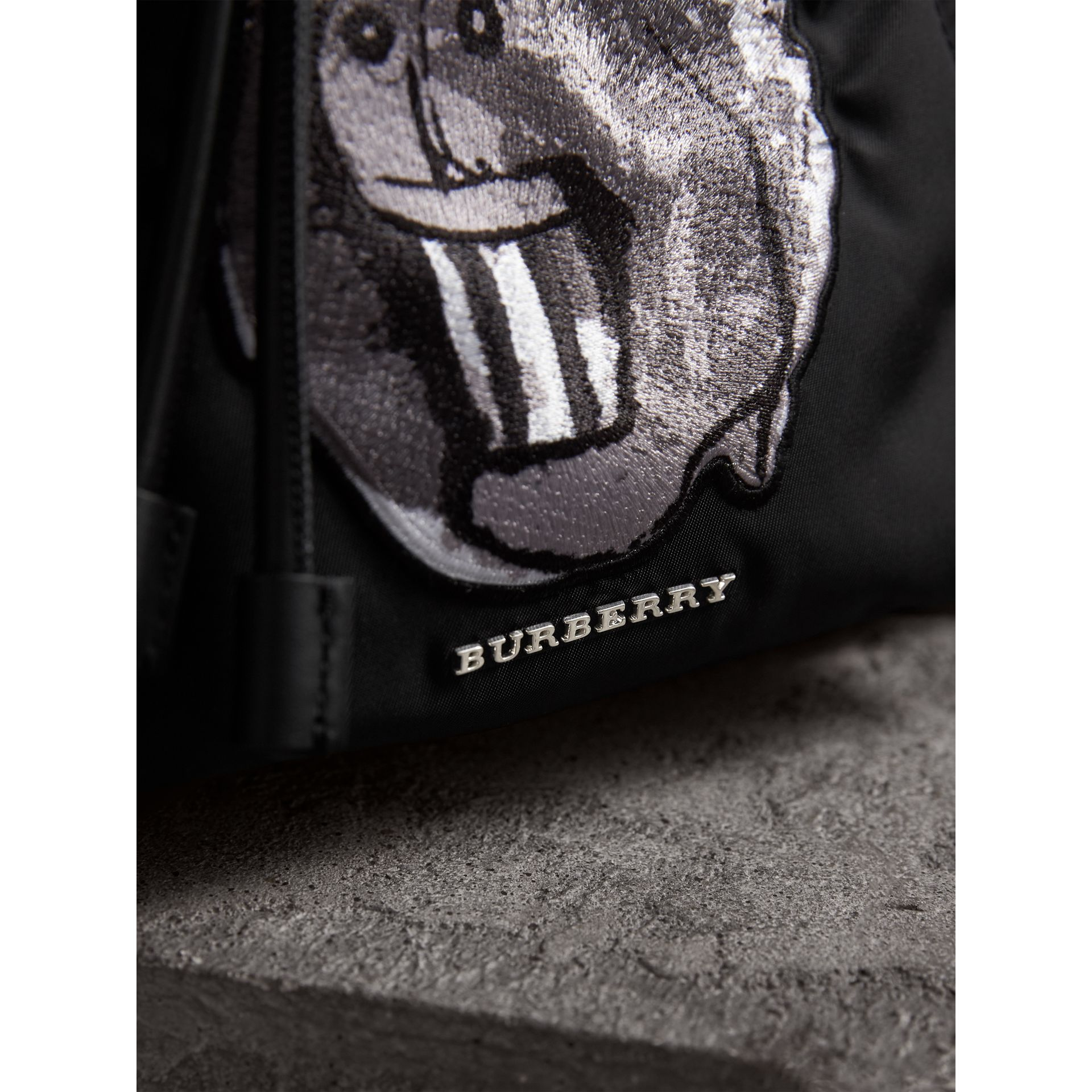 The Medium Rucksack in Technical Nylon with Pallas Heads Appliqué in Black/white - Women | Burberry - gallery image 2