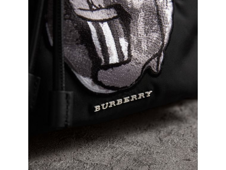 The Medium Rucksack in Technical Nylon with Pallas Heads Appliqué in Black/white - Women | Burberry - cell image 1