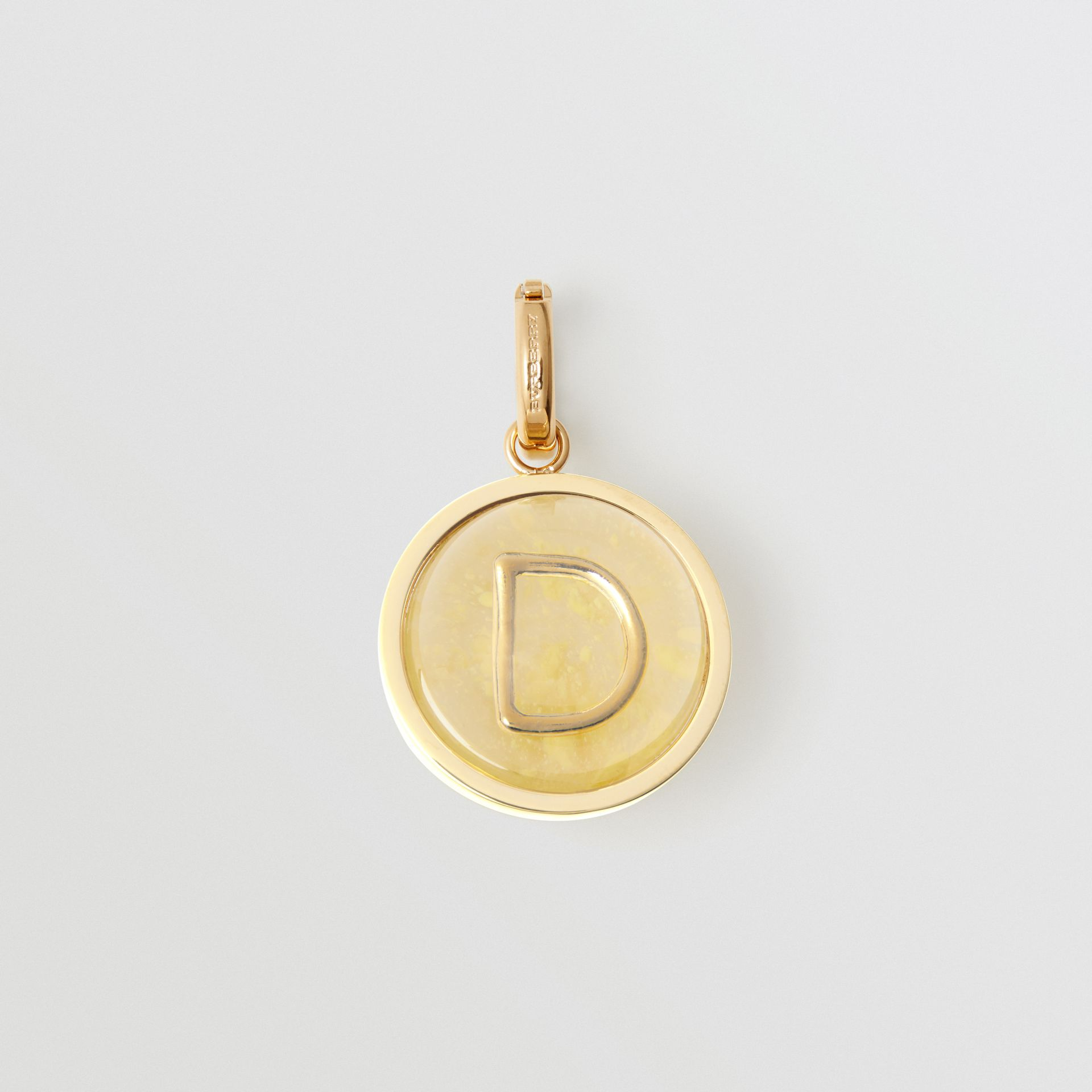 Marbled Resin 'D' Alphabet Charm in Gold/mimosa - Women | Burberry - gallery image 0
