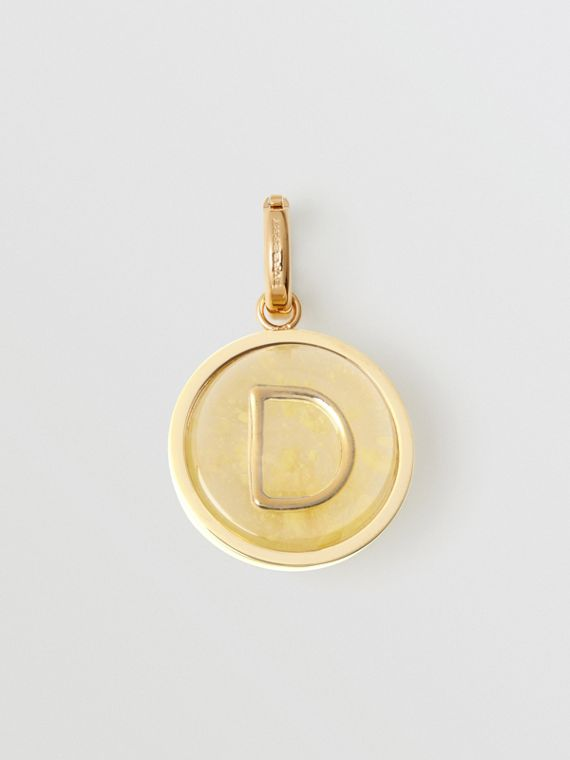 Marbled Resin 'D' Alphabet Charm in Gold/mimosa