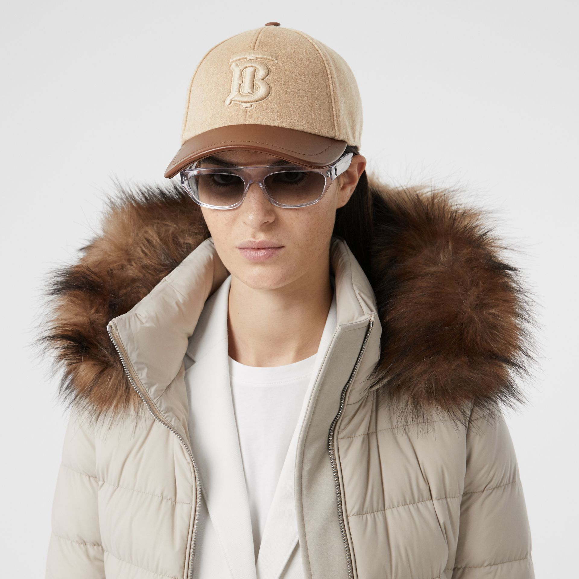 Monogram Motif Cashmere and Leather Baseball Cap in Camel | Burberry - gallery image 2