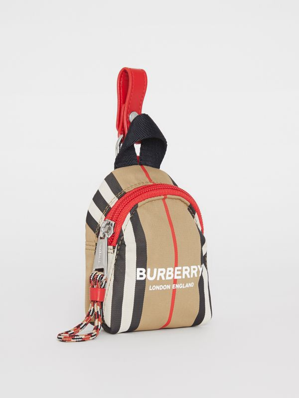 Logo Print Icon Stripe Coin Case in Archive Beige - Children | Burberry - cell image 2