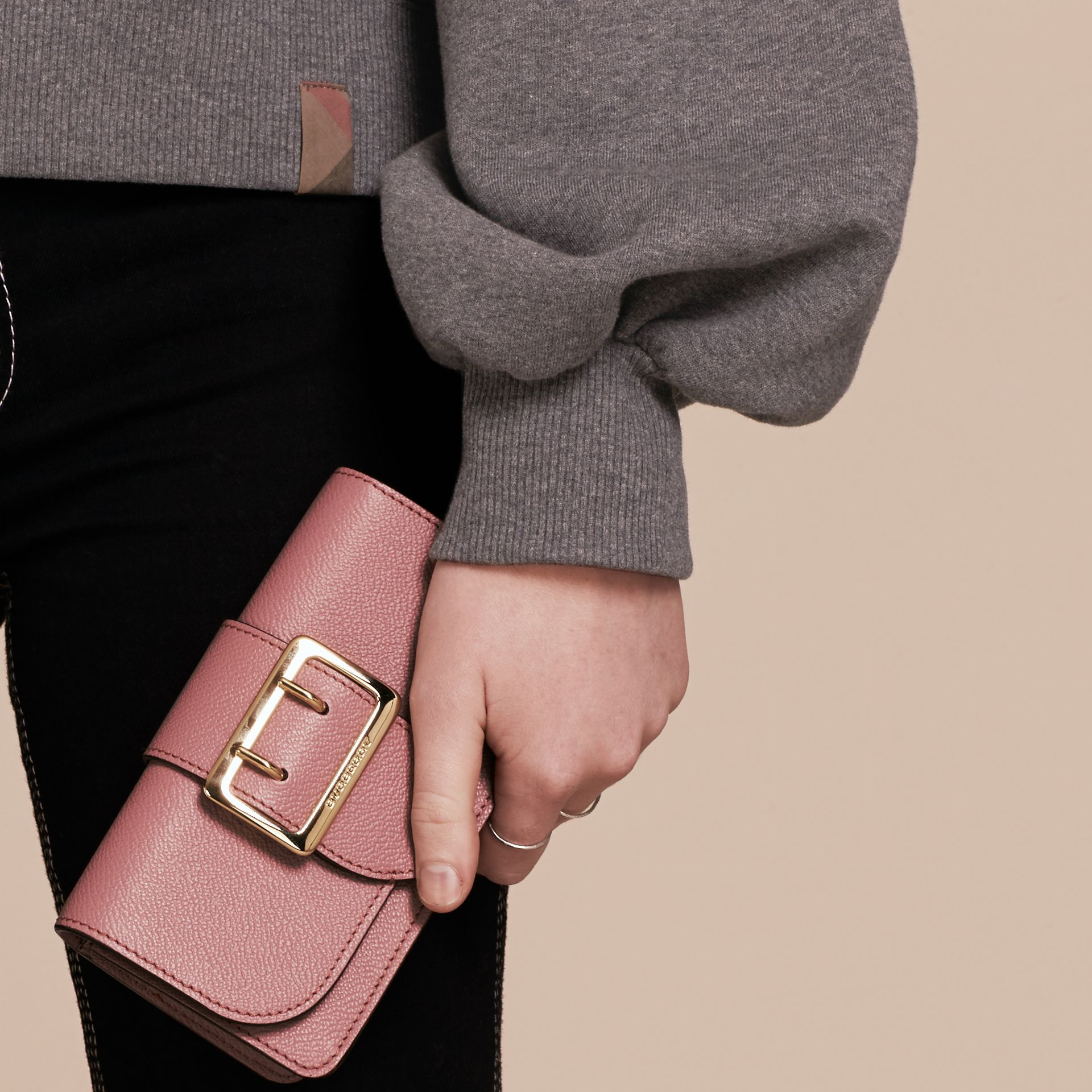 The Mini Buckle Bag in Grainy Leather Dusty Pink - gallery image 4