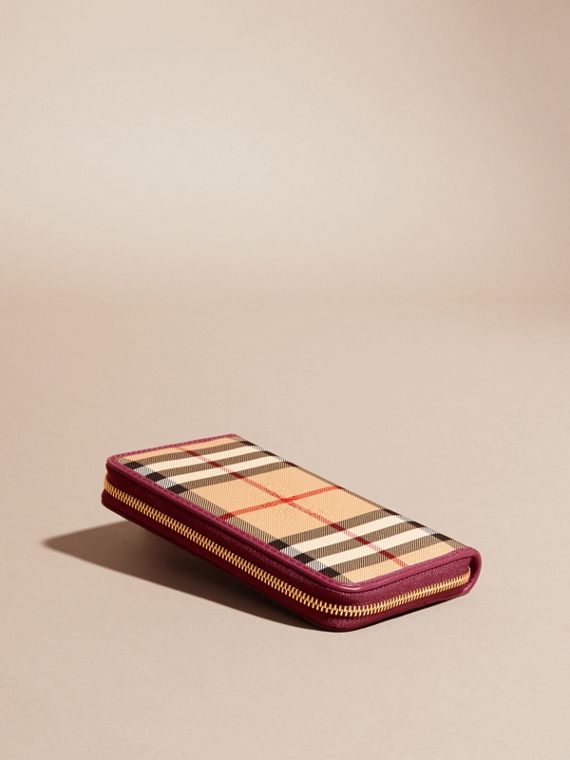 Dark plum Horseferry Check and Leather Ziparound Wallet Dark Plum - cell image 3