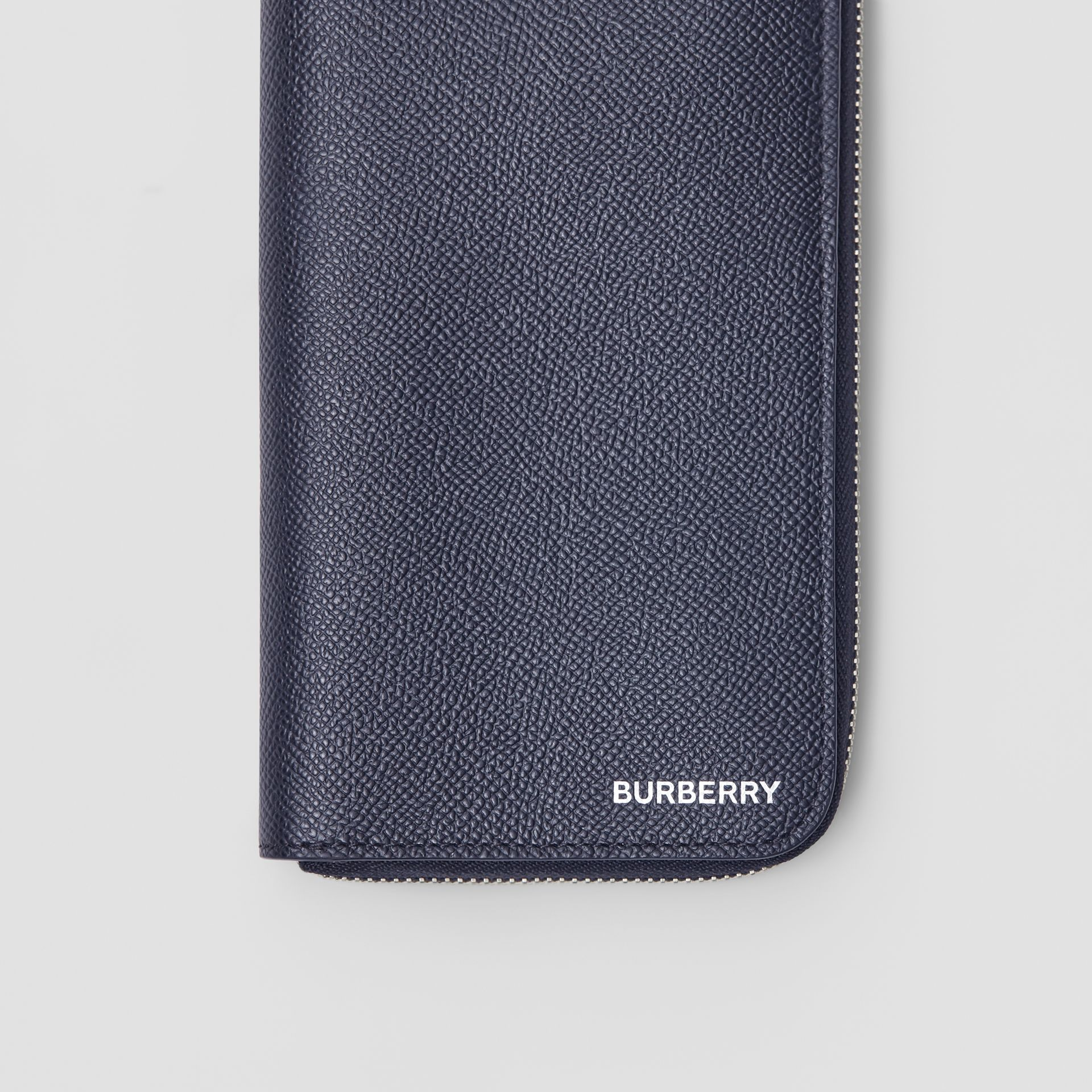 Grainy Leather Ziparound Wallet in Regency Blue - Men | Burberry - gallery image 1