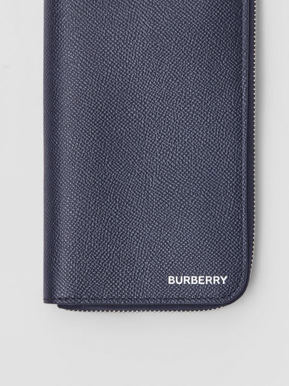 Grainy Leather Ziparound Wallet in Regency Blue - Men | Burberry - cell image 1
