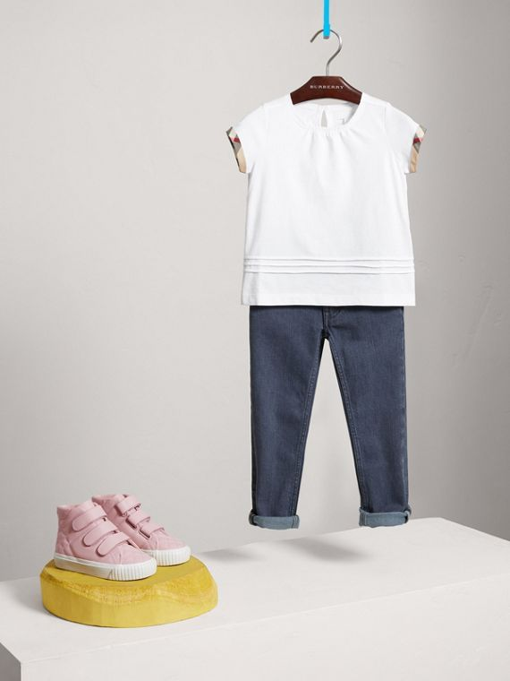 Pleat and Check Detail Cotton T-shirt in White - Girl | Burberry United States - cell image 2