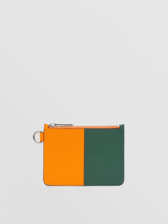 Colour Block Leather Zip Coin Case in Orange/green