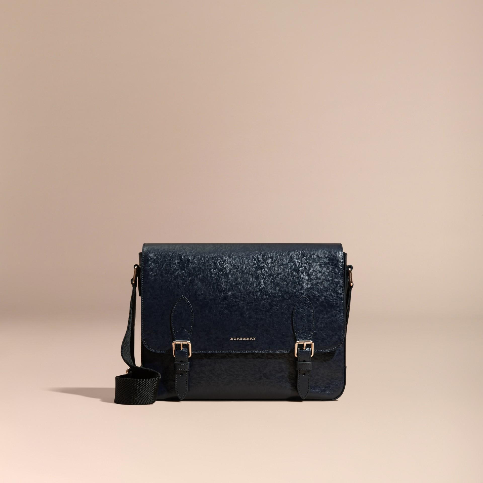 Dark navy Medium London Leather Messenger Bag Dark Navy - gallery image 8