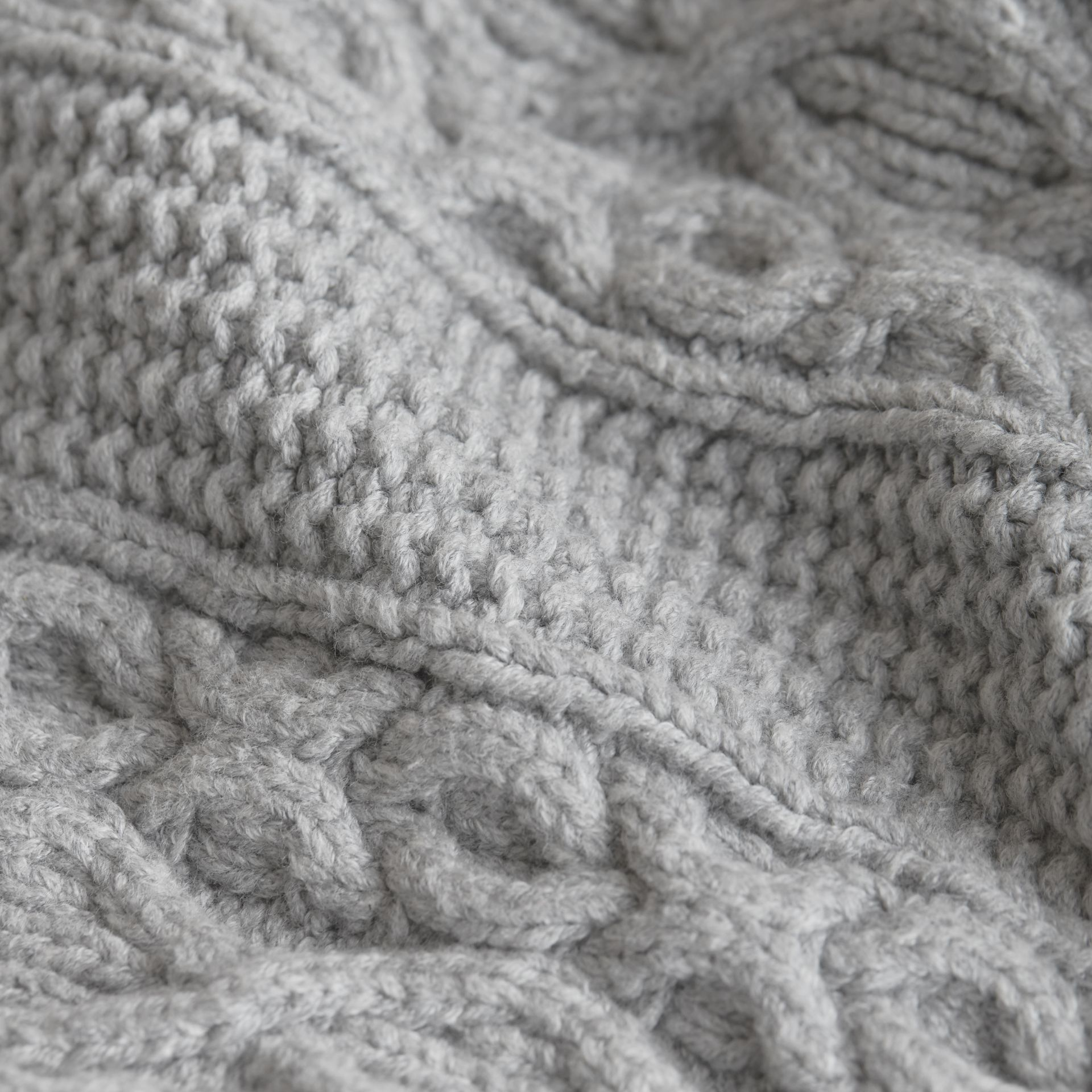 Cable and Rib Knit Collage Cotton Blend Sweater in Pale Grey Melange - Boy | Burberry - gallery image 2