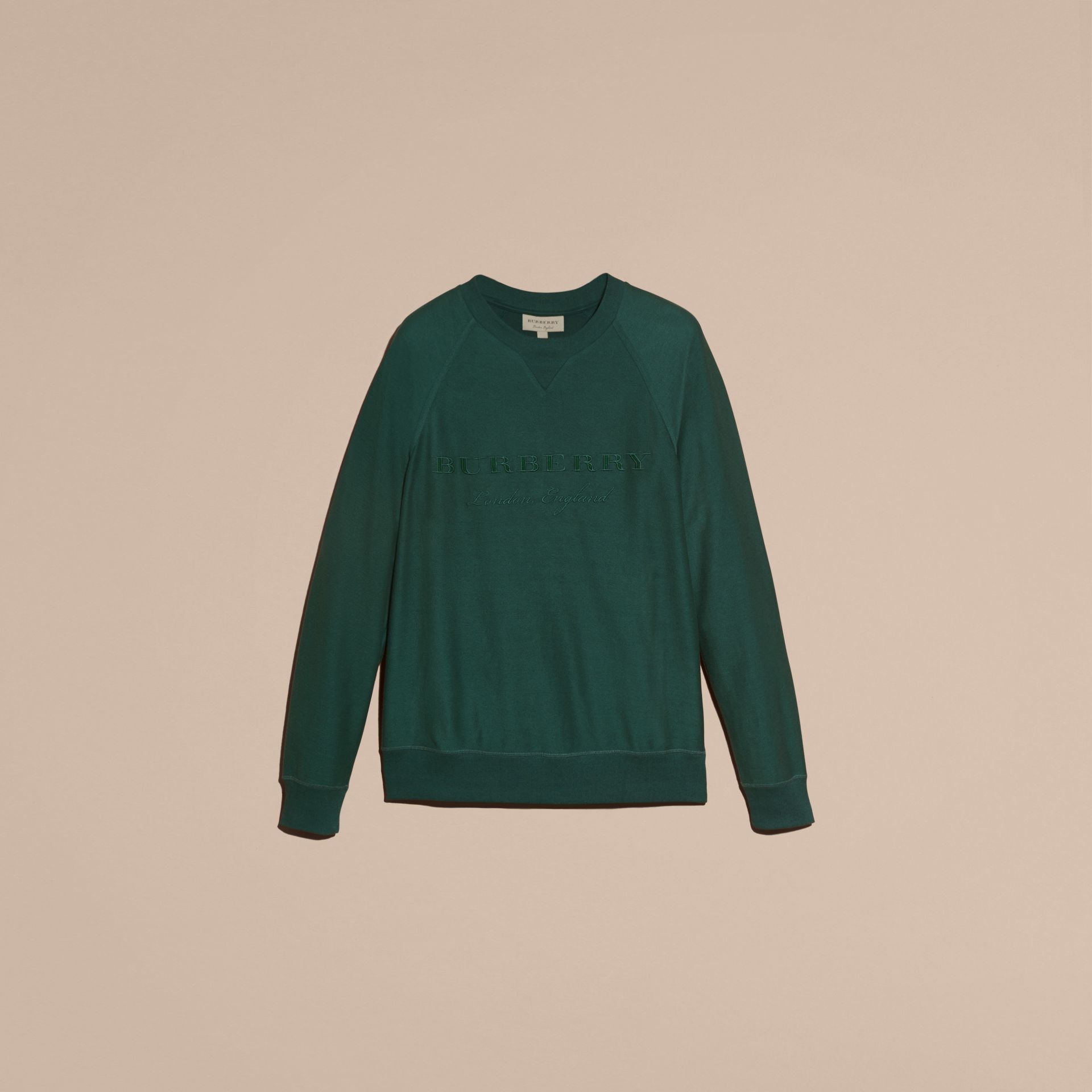 Embroidered Motif Cotton-blend Jersey Sweatshirt Deep Teal - gallery image 4