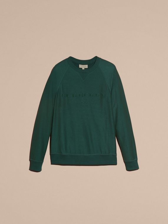 Embroidered Motif Cotton-blend Jersey Sweatshirt in Deep Teal - Men | Burberry - cell image 3