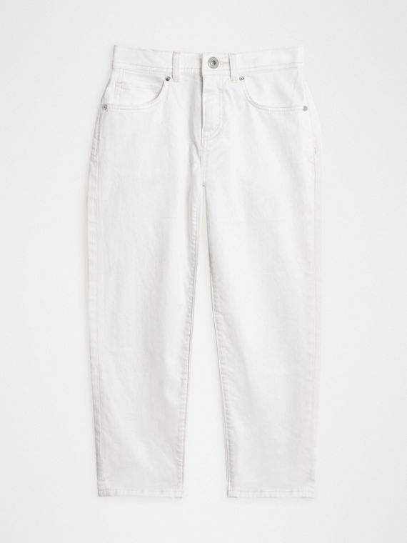 Relaxed Fit Stretch Denim Jeans in White