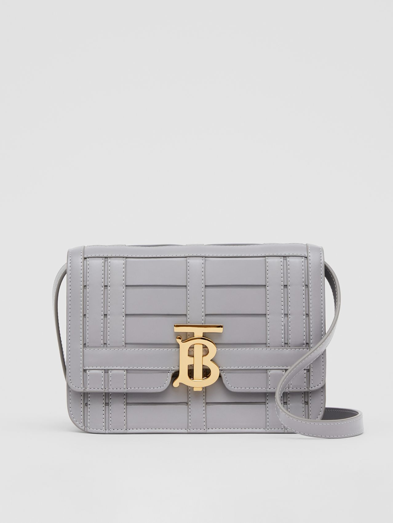 Small Woven Leather TB Bag in Cloud Grey