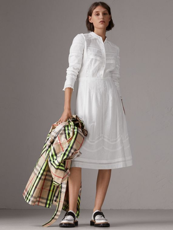 English Lace Detail Cotton Voile Shirt Dress in Off White
