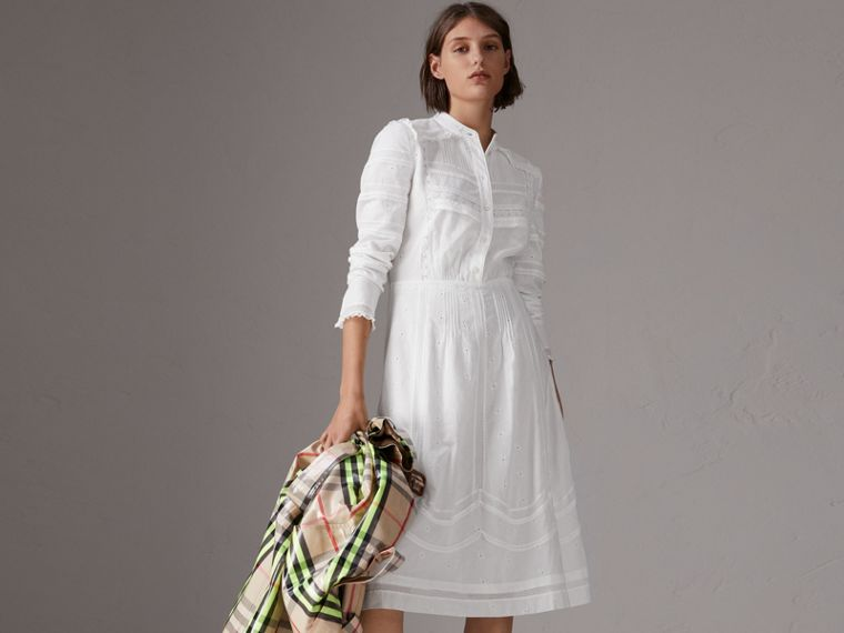English Lace Detail Cotton Voile Shirt Dress in Off White - Women | Burberry - cell image 4
