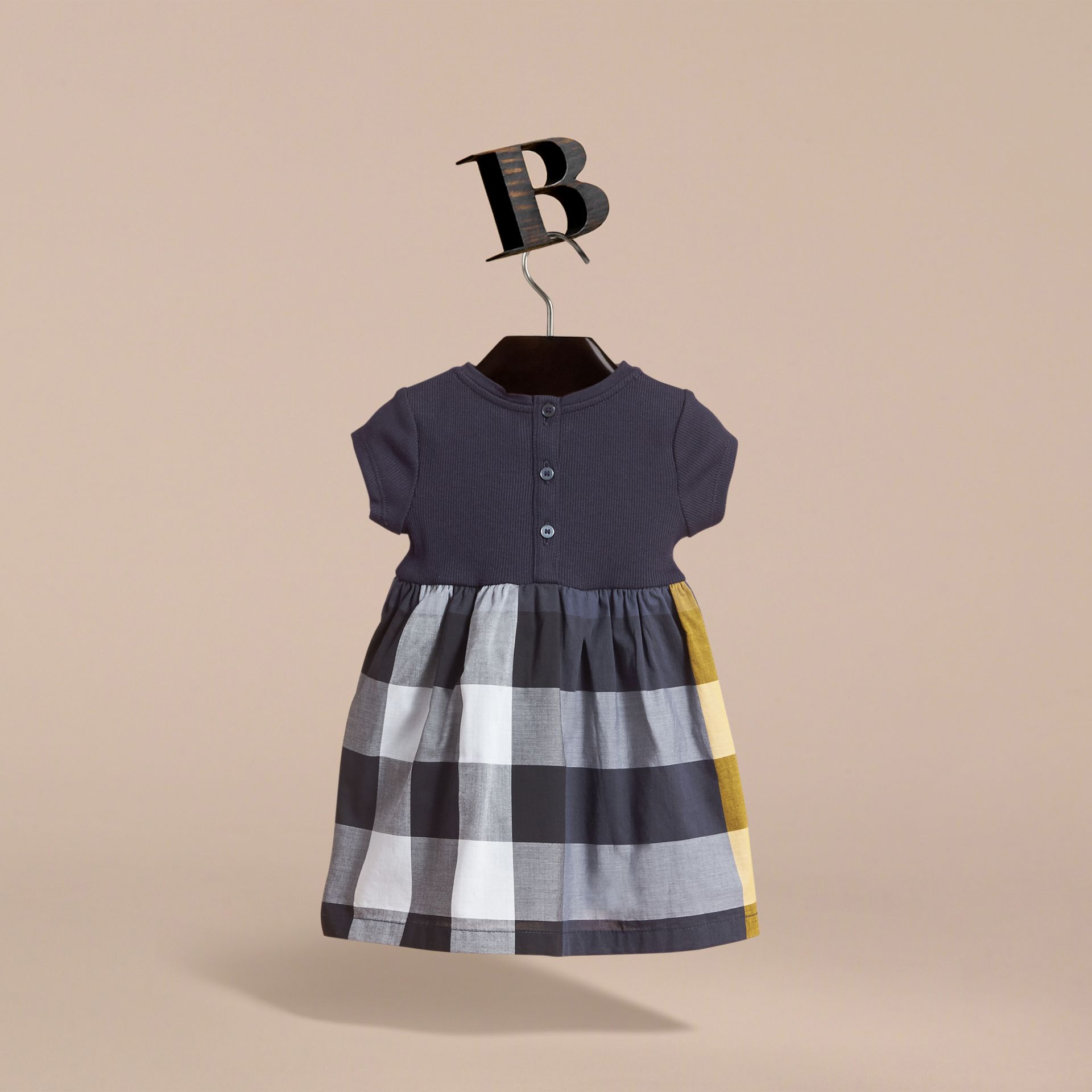 Check Cotton Jersey T-shirt Dress in Pale Navy | Burberry - gallery image 3