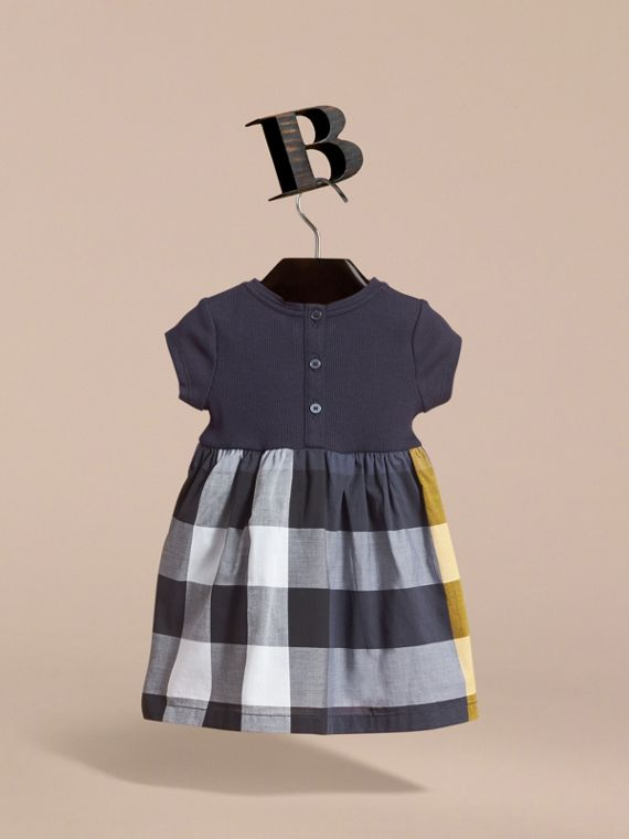 Check Cotton Jersey T-shirt Dress in Pale Navy | Burberry - cell image 3