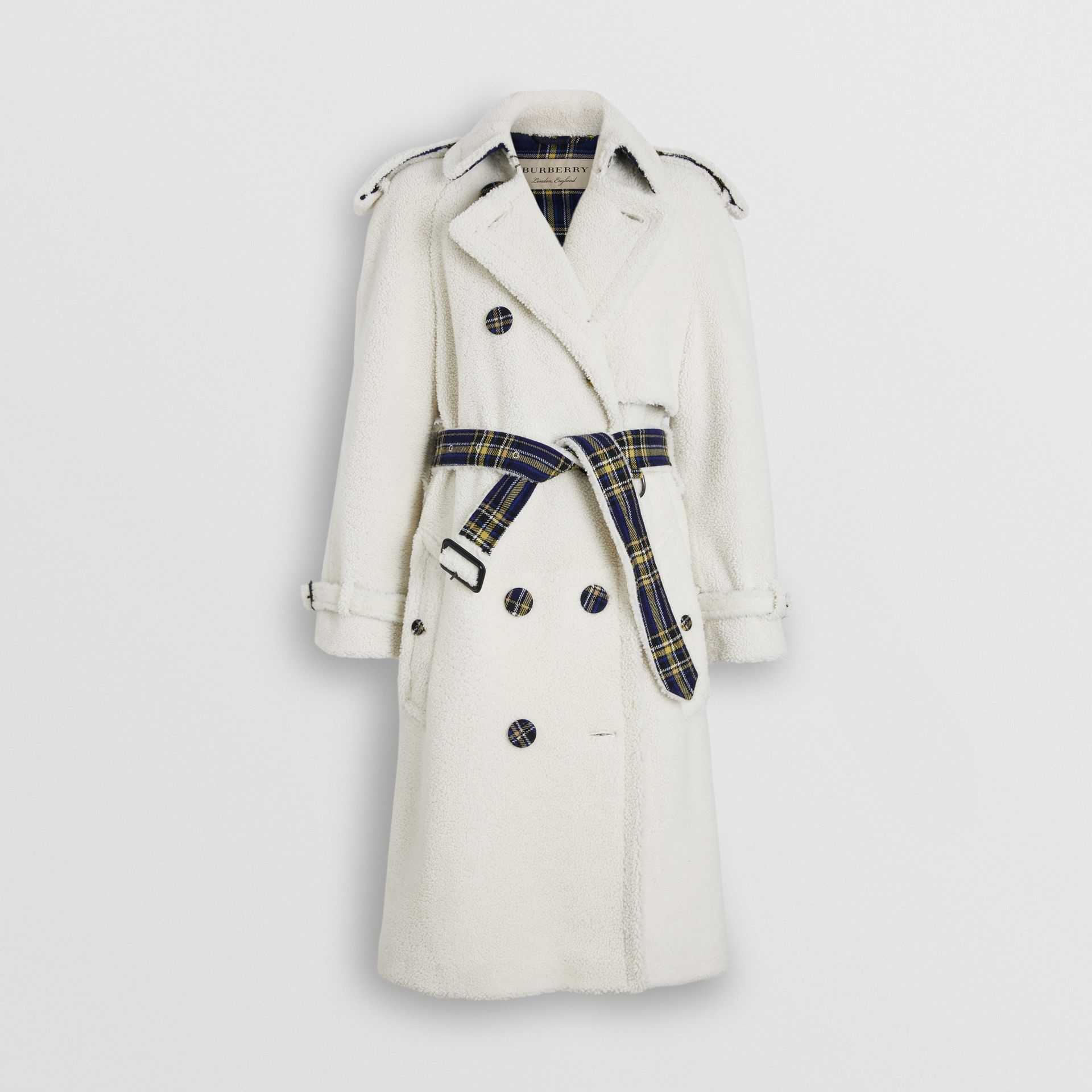 Tartan-lined Shearling Trench Coat in Off White - Women | Burberry - gallery image 3