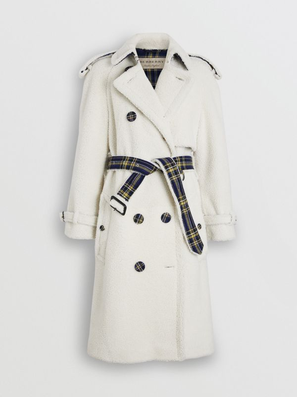 Tartan-lined Shearling Trench Coat in Off White - Women | Burberry - cell image 3