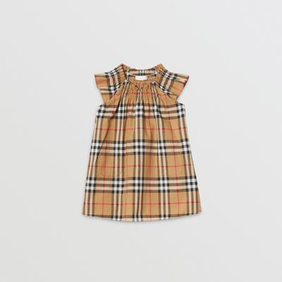 2b463f268f9 Smocked Vintage Check Cotton Dress in Antique Yellow - Children | Burberry