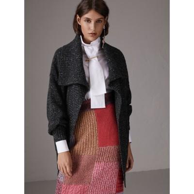 Wool Cashmere Blend Oversized Cardigan in Black - Women   Burberry ...