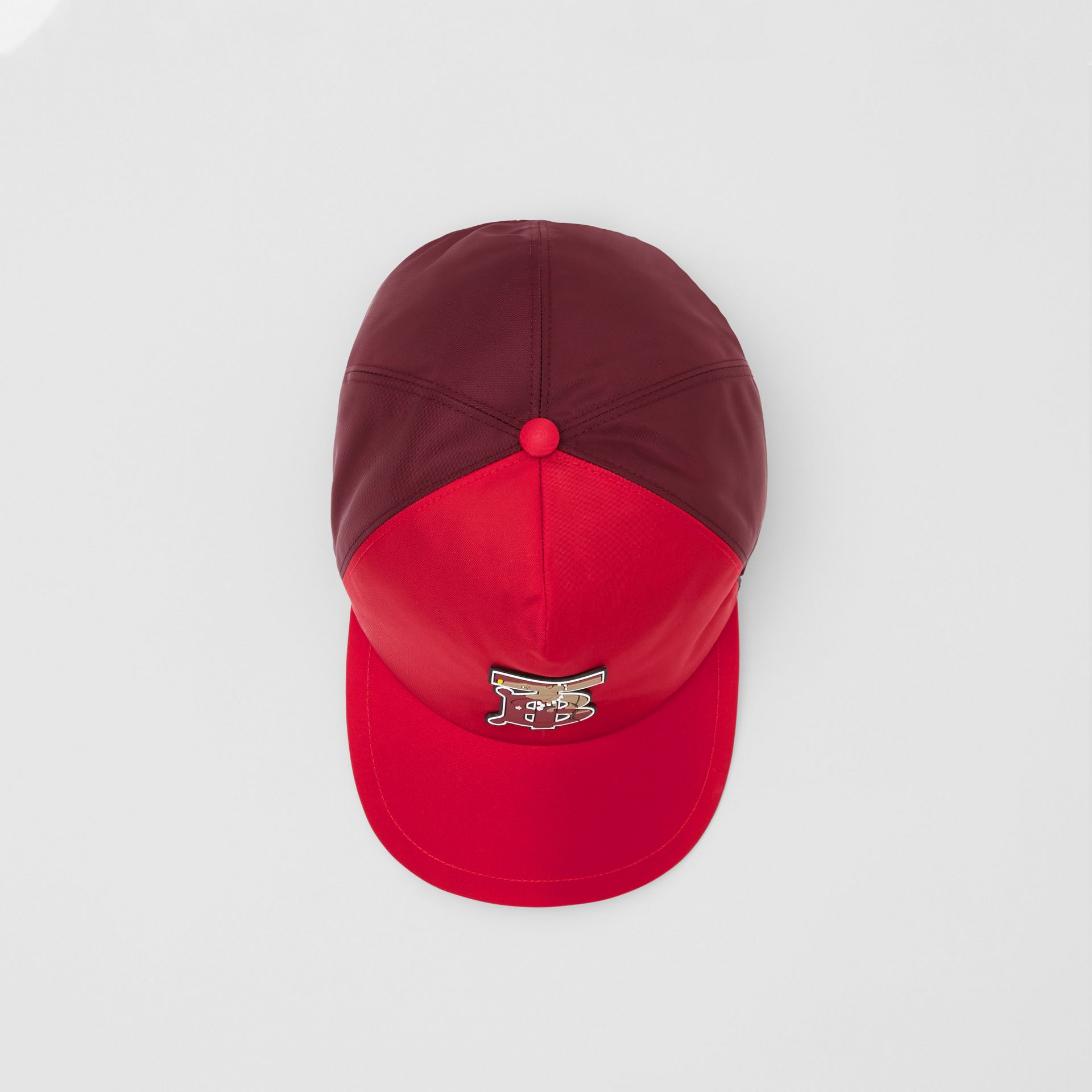 Monogram Motif Two-tone Baseball Cap in Bright Red | Burberry - gallery image 4