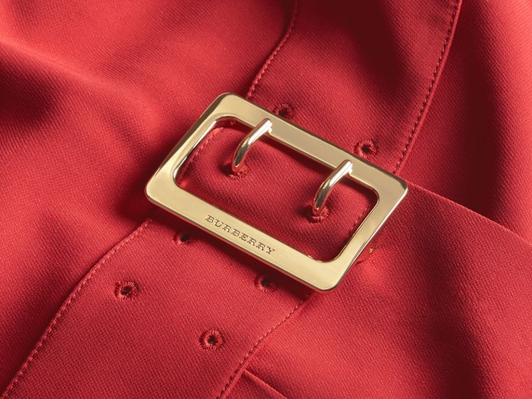 Buckle Detail Pleated Shift Dress in Parade Red - cell image 1