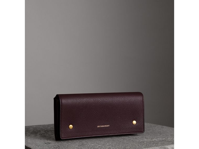 Two-tone Leather Continental Wallet in Deep Claret - Women | Burberry - cell image 4