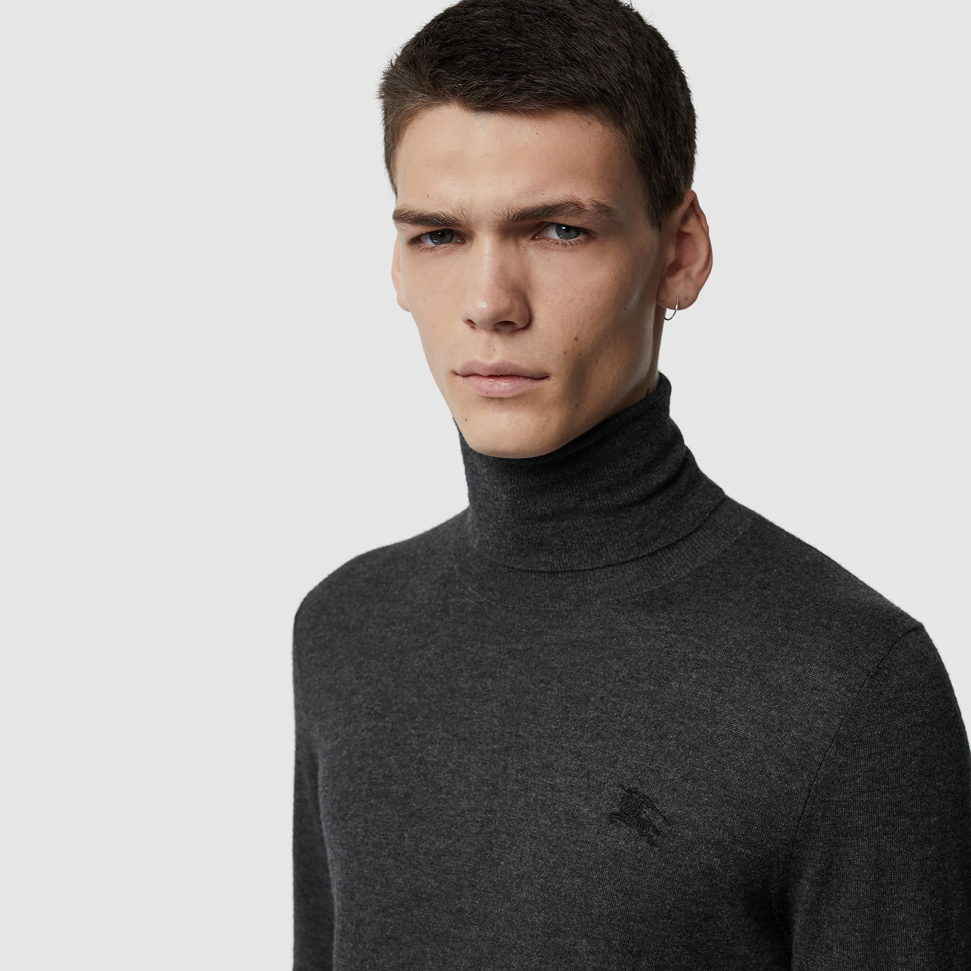 Cashmere Silk Roll-neck Sweater in Charcoal - Men | Burberry United Kingdom - gallery image 1