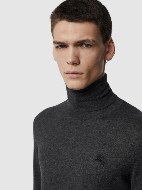 Cashmere Silk Roll-neck Sweater in Charcoal - Men | Burberry United Kingdom - cell image 1
