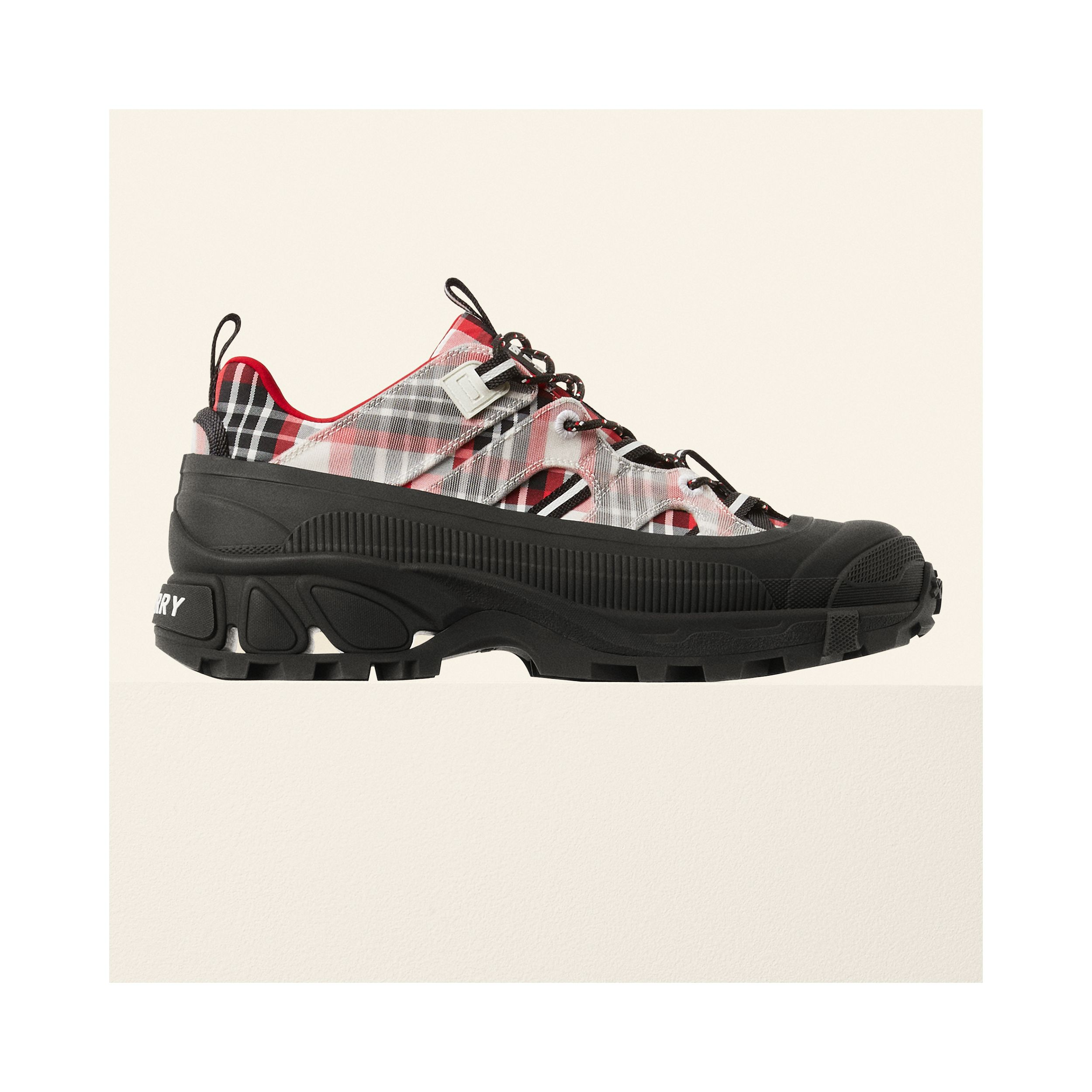 Tartan Nylon Arthur Sneakers in Red/black/white - Women | Burberry - 2