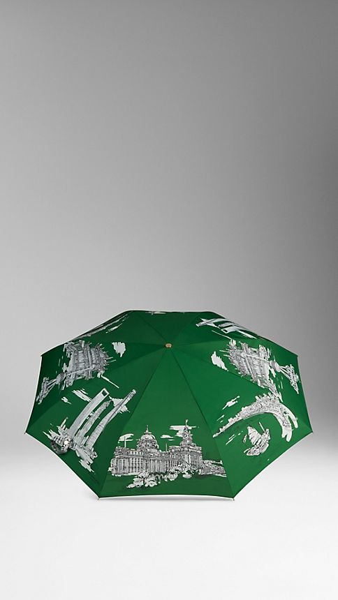Bright cedar green Shanghai Landmarks Folding Umbrella - Image 3