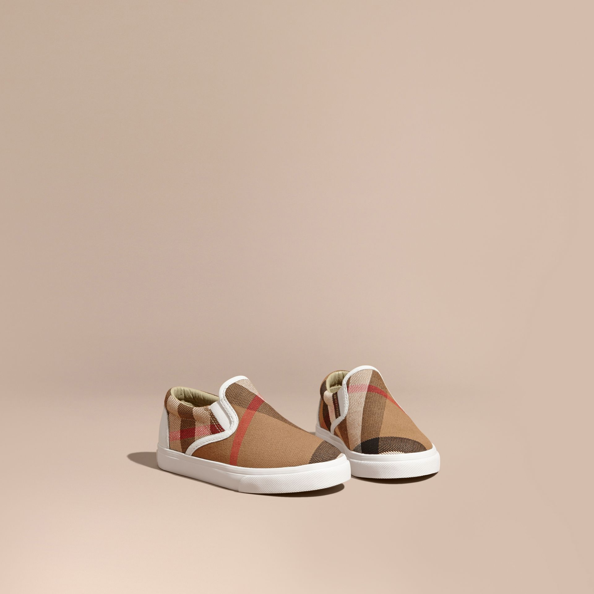 House Check Cotton Slip-On Trainers in White | Burberry United States - gallery image 1