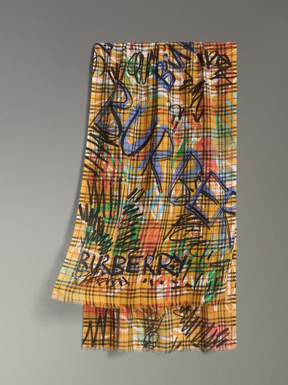 Schal aus Wolle, Seide und Kaschmir mit Graffiti- und Vintage-Druckmuster (Ockergelb)