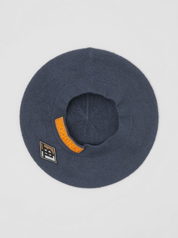 Logo Graphic Merino Wool Beret in Navy Stone