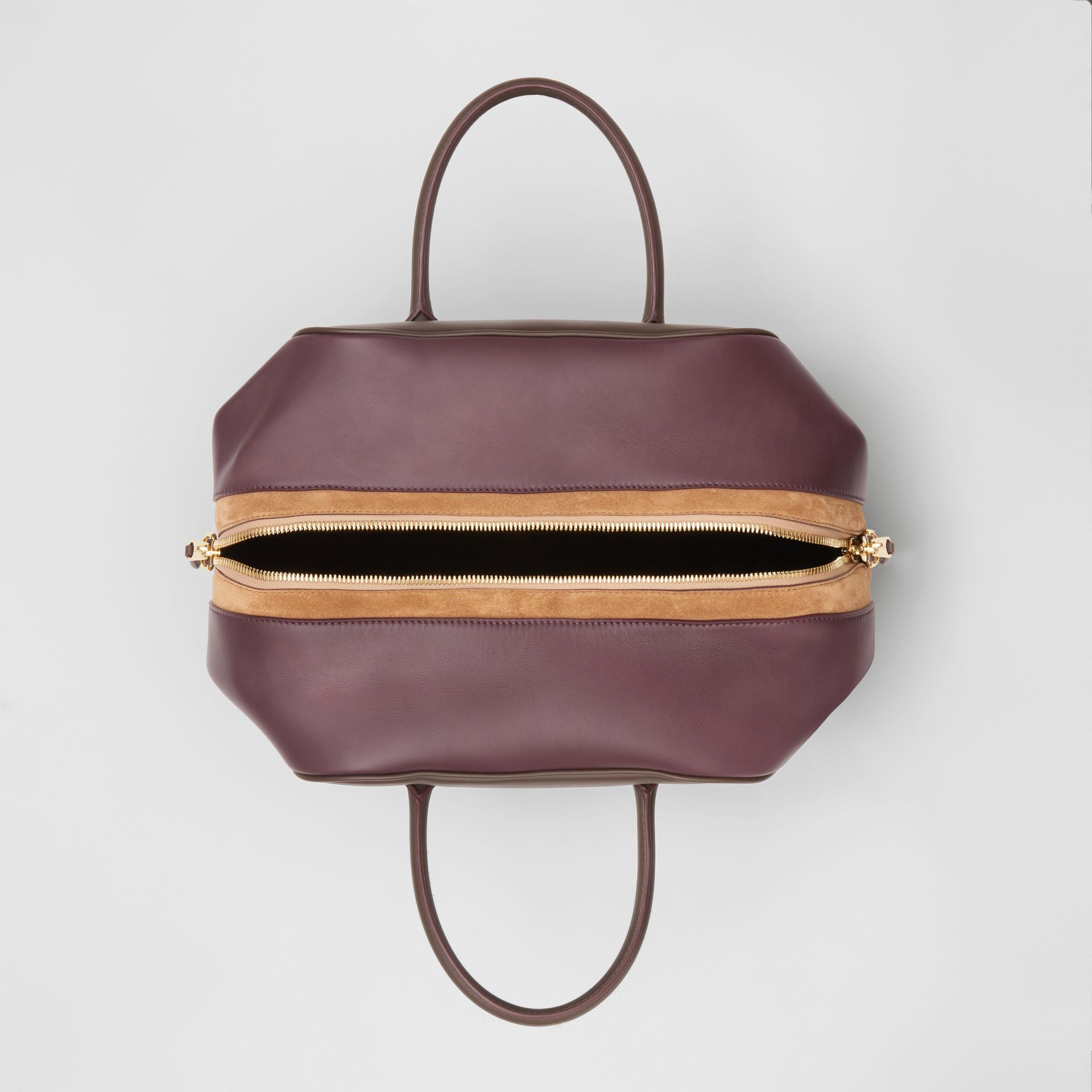 Medium Leather and Suede Cube Bag in Mahogany - Women | Burberry - gallery image 4