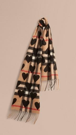Écharpe classique en cachemire à motif check avec cœurs