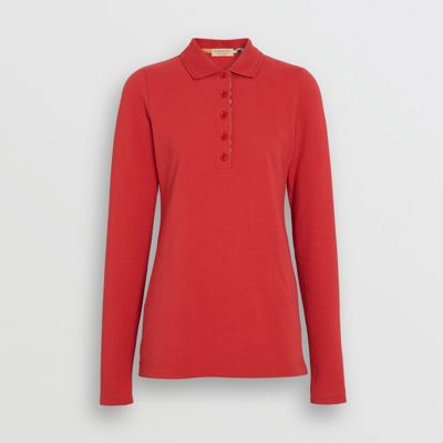 9feda430 ... discount code for long sleeve check placket cotton piqué polo shirt in  bright red women burberry