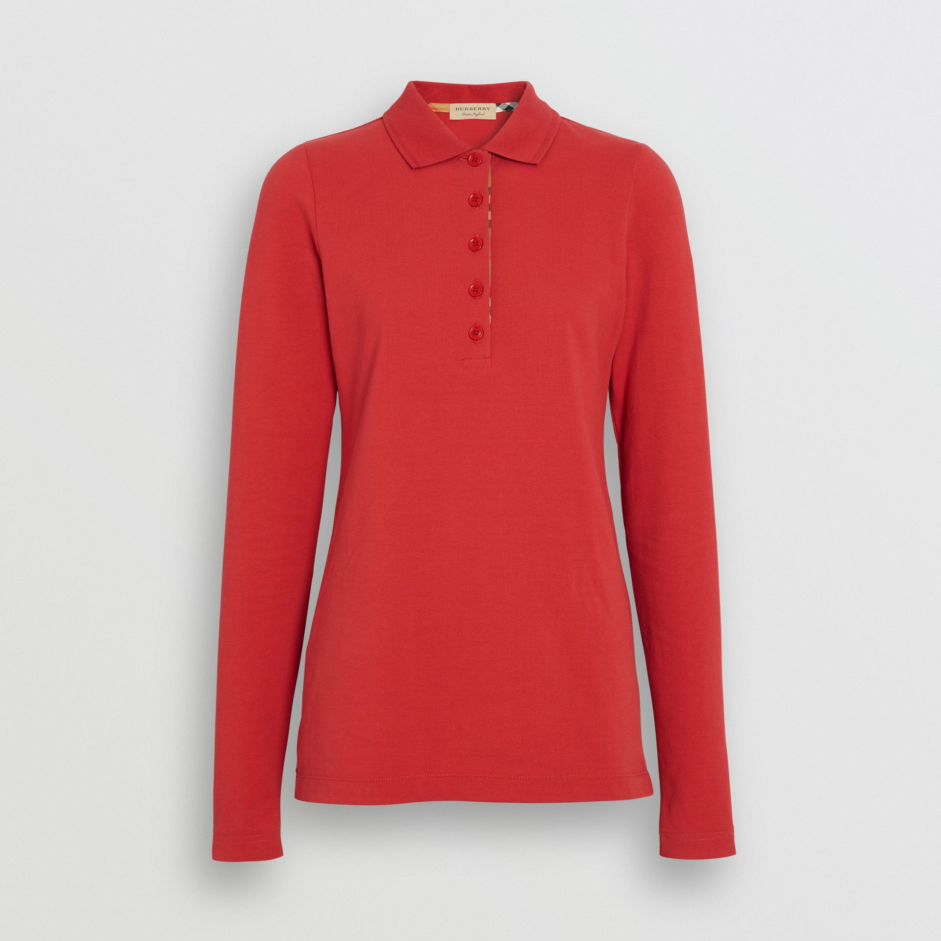 Long-sleeve Check Placket Cotton Piqué Polo Shirt in Bright Red - Women | Burberry United Kingdom - gallery image 3