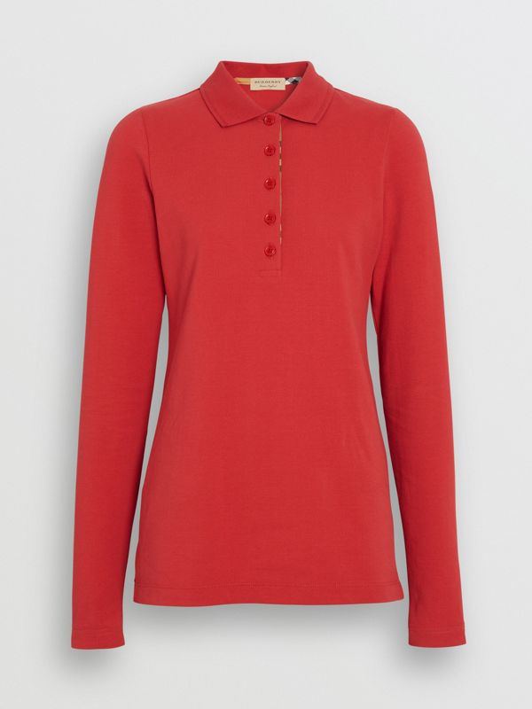Long-sleeve Check Placket Cotton Piqué Polo Shirt in Bright Red - Women | Burberry - cell image 3